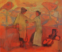 Image of a painting with two figures linking arms. In oranges and yellows. Title: A Country Dance