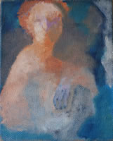 Image of a painting of a lady with red hair. Title: Golden Lady.