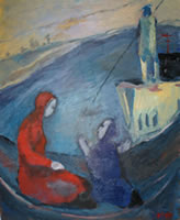 Image of a painting with two figures in a boat on a lake. They are dressed in long hooded robes, one in red, the other in blue with hands held as if in supplication. Title: Journey to the Afterlife