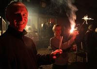 Image of the Tony and Jess with sparklers.