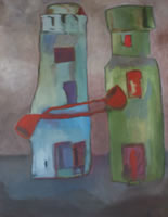 Image of a painting of two lighthouses each with a red pipe. Title: Two Lighthouses Having a Smoke