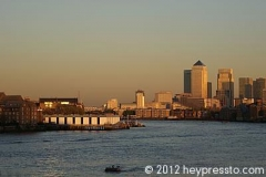 Canary Wharf Sunset and White Quay
