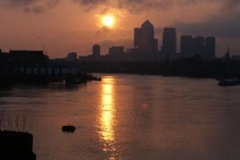 Canary Wharf Sunset Reflection 3