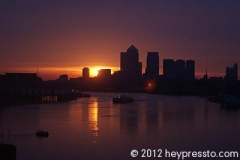 Canary Wharf Sunset Reflection