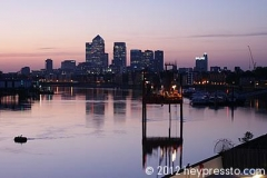 Canary Wharf with Drill at Sunset