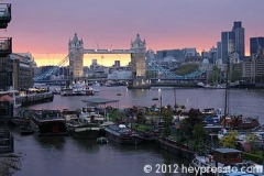 Tower Bridge Sunset with Houseboats