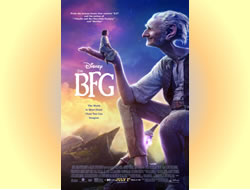 The BFG theatrical release film poster. At sunset, the Big Friendly Giant seated smiling at a little girl standing on his hand