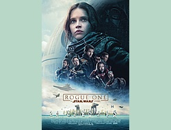 Rogue One poster: girl in a helmetless space suit surrounded by men against a bright sky to the left and darkness to the right