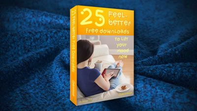 25 Feel-better Free Downloads book on dark blue cosy woollen blanket