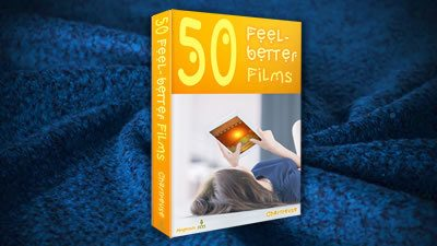 50 Feel-better Films book on dark blue woollen blanket